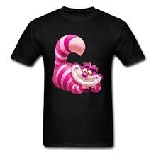 Grin Like A Cheshire Cat T Shirt Alice's Wonderland Pink Smile Cat Funny Cartoon Print 3D Tshirts Boy Top Quality Streetwear Tee cat print tee