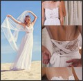 Sexy Sleeveless Lace Beach Wedding Dresses Gowns 2015 Summer White/Ivory Backless Chiffon Bride Dress