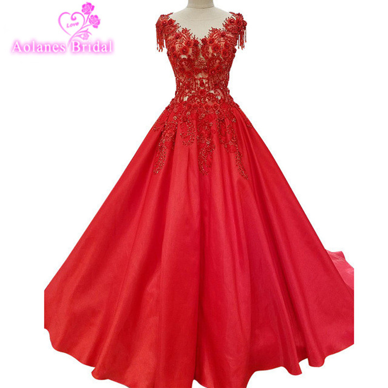 2017 Red Ball Gown Evening Dresses O-Neck Lace Appliques Crystals Beaded Floor Length Evening Gowns New ArrivalParty Prom Dress