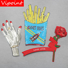 VIPOINT embroidery sequins big flower hand patches chips badges applique for clothing XW-162