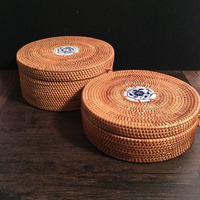 Vietnamese Rattan Tea Tin Box With Lid Rope Square Round Hand Woven Snack Food Storage Box