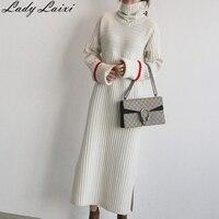 2018 Women Long Turtleneck Pullovers Sweater Dress Warm Thick Knitted Sweater Dresses Winter Female Long Sleeve Twist Knitwear