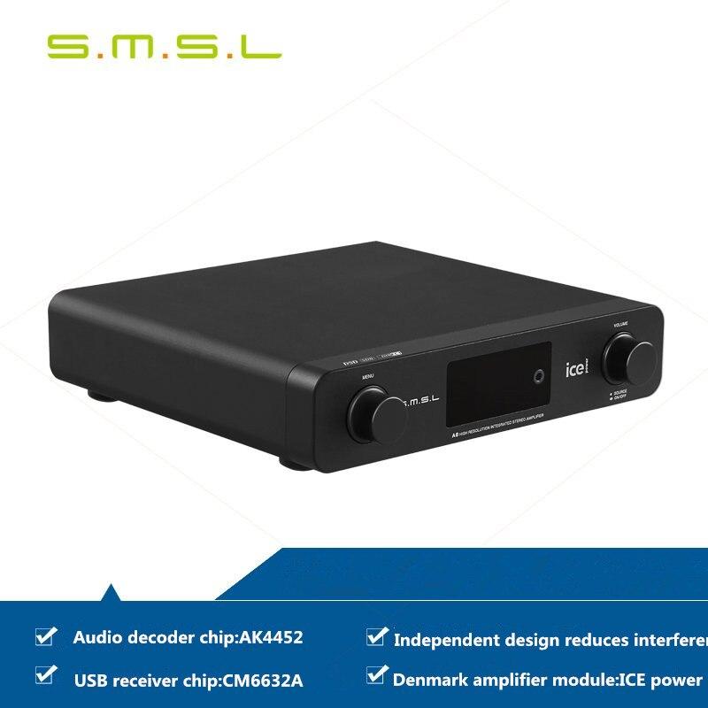 SMSL A6 Professional HiFi Multifunction CM6632A AK4452 50Wx2 DSD512 Digital Audio Amplifier 384KHZ/32Bit Optical/USB DAC