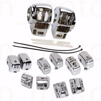 Chrome Switch Housing Cover+10 Cap For Harley Electra Glide Road Glide Tri Glide 1996 2013