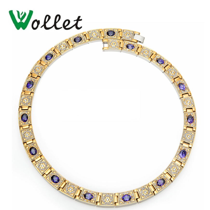 Wollet Jewelry Pure Titanium Statement Necklace for Women Magnetic Purple Gold Red Crystal CZ Stone Magnet Health Care Healing уход llang тоник red ginseng pure healing scalp