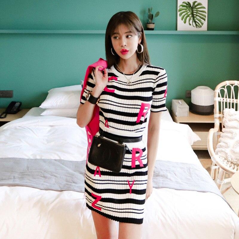 Frauen Sommer Twinest 2 Stück Set Striped Brief Pullover Top + Hohe Taille Bodycon Mini Röcke Stricken Sets Damen ensemble femme