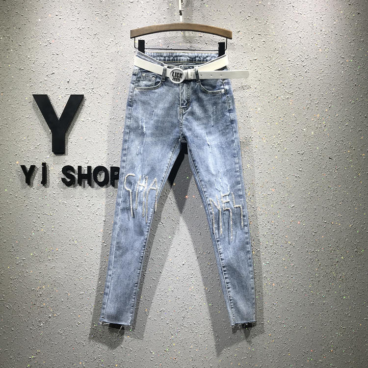 Spring New Style Tight-fitting High Waist Diamond Beads Jeans Women's Water Drilling Hole Pencil Denim Nine-minute Pants