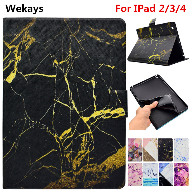 Wekays Tablet Case For Apple Pad IPad 2 3 4 Marble Smart Leather Flip Fundas Case For Coque IPad2 IPad3 IPad4 Tablet Cover Cases for ipad 2 3 4 case 360 degrees rotating pu leather cover for apple ipad 2 3 4 stand holder cases smart tablet a1395 a1396 a1430