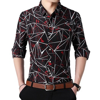 Men Fall 2018 Fashion New Men Shirt Cotton Long Sleeve Geometric Printed Shirts Big Size Camisa Social 5XL 6XL 7XL
