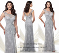 Silver Long Mermaid Mother of the Bride Lace Dresses Elegant Evening Dress Scoop V Back 2015 Wedding Party Gowns Vestidos