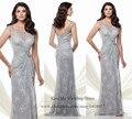 Silver sirena larga lf2739 madre de la novia Vestidos encaje vestido de noche elegante Scoop V volver 2015 Vestidos del partido Vestidos