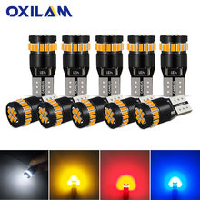OXILAM 10x T10 LED W5W LED Canbus Auto Lamp 12V 3014 24SMD Car Interior Light 194 168 Lights Bulb White Blue Red Yellow No Error(China)