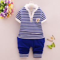 Small boys short sleeve T-shirt two-piece suit summer new Korean cotton children's clothing kids tops wholesale 1-3.5 year old