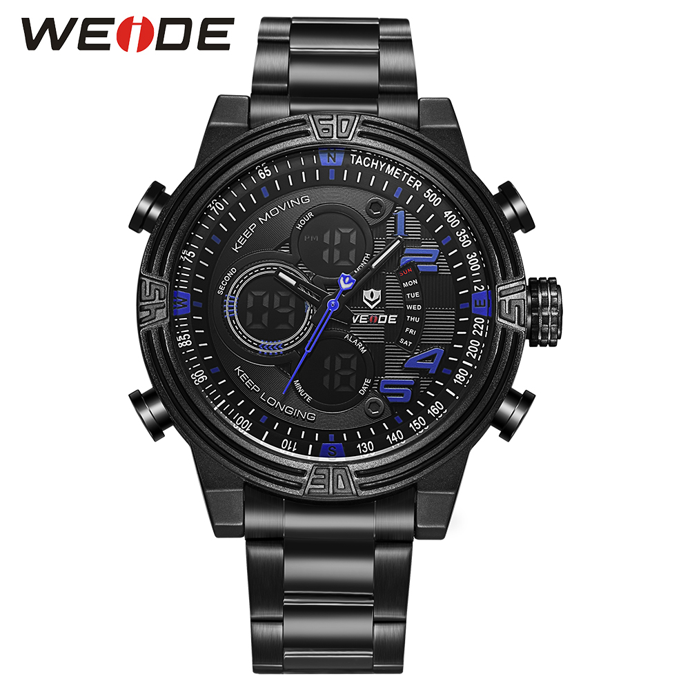WEIDE Relogio Masculino Sports Watch Men Blue Date Analog Digital Dual Time Display Stainless Steel Band Military Quartz Watches weide irregular analog led digital watch men quartz dual movement stainless steel bracelet mens waterproof military watches