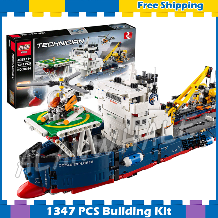 1347pcs Techinic 2in1 Ocean Explorer 20034 DIY Model Ships Helicopters Building Kit Blocks Gifts Toys Kids Compatible With <font><b>Lego</b></font> image