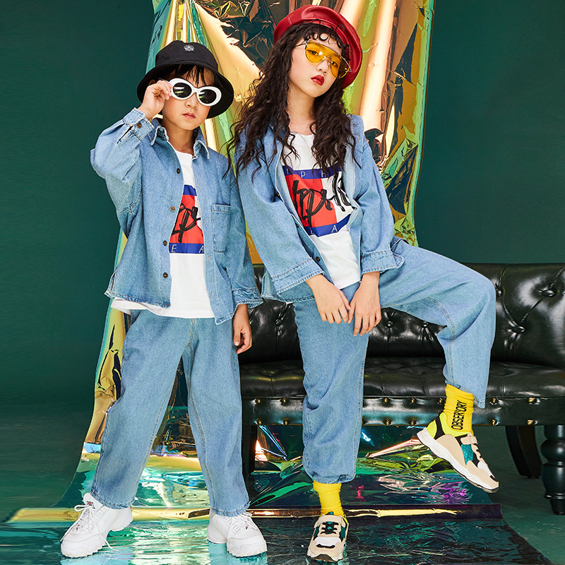 Fashion Ropa Hip Hop Jeans Suit Coat+Pant For Boys/Girls Loose Jazz Dance Wear Hiphop Performance Stage Dance Costume BL1770