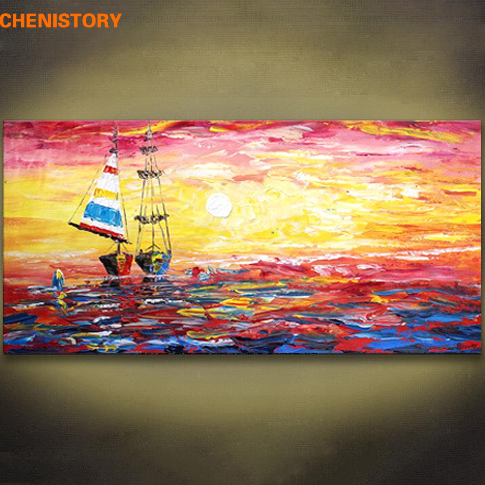 Unframed Abstract Sailing Boat Hand Painted Oil Painting Modern Wall ...