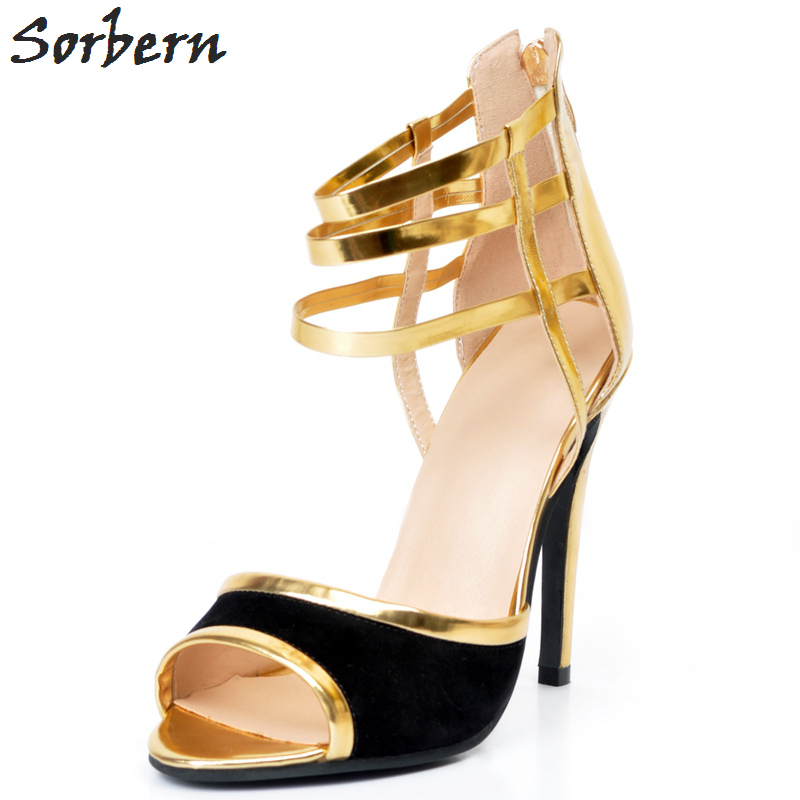 Sorbern Women Pumps Shoes Plus Size Zapatos Mujer Womens Shoes Heels Peep Toe Fashion Ladies Party Shoes Pumps Gold Big Size sorbern high heels pumps womens shoes platform autumn women shoes plus size ladies party shoes 2017 new arrive peep toe zipper