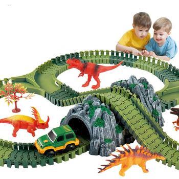 Pista Dinosaurio Coche Selva Niños Diy Parque Temático Simulación 1JlFuT35Kc