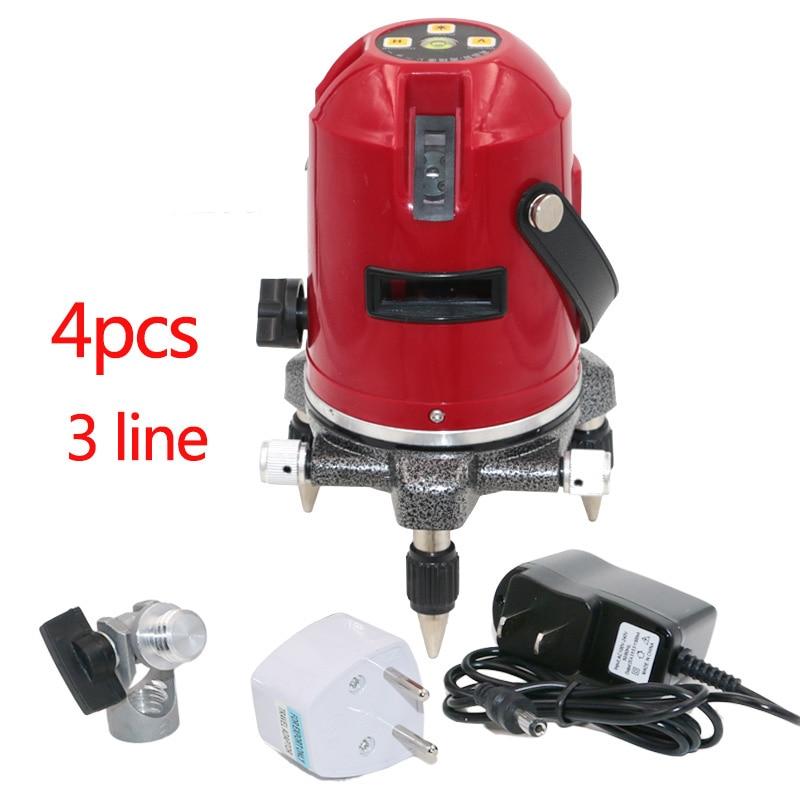 Nível do laser com 360 Função de Inclinação Giratória/Ao Ar Livre Euro Plug Nivelador de 3 Linhas de 4 Ponto Auto Nível Do Laser 635nM