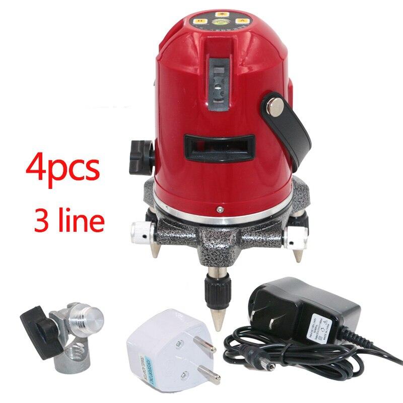 Niveau Laser avec 360 fonction d'inclinaison rotative/prise Euro extérieure 635nM niveleur 3 lignes niveau auto-Laser 4 points