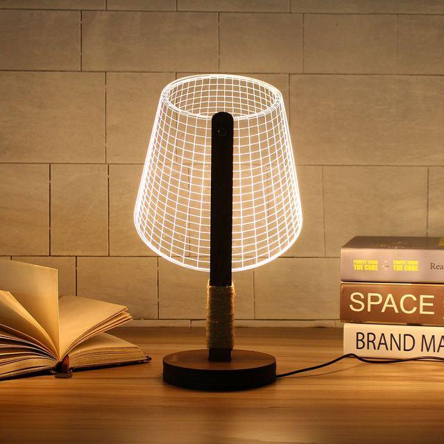 Adjustable 3D Wooden Stand Lamp Night Light Bedside Table Desk Lamp Plug  Connector Home Decor Lighting