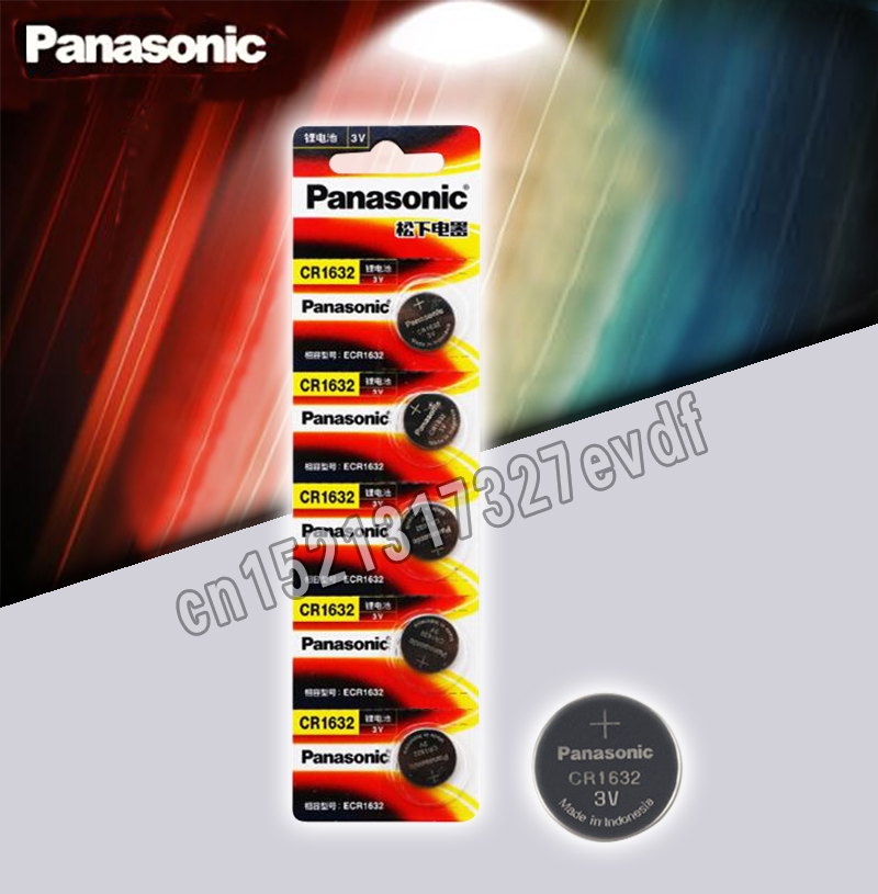 5PCA Panasonic Cr1632 Button Cell Coin Battery 3v Watch Remote Control Car Keys DL1632 ECR1632 GPCE1632 Lithium Battery