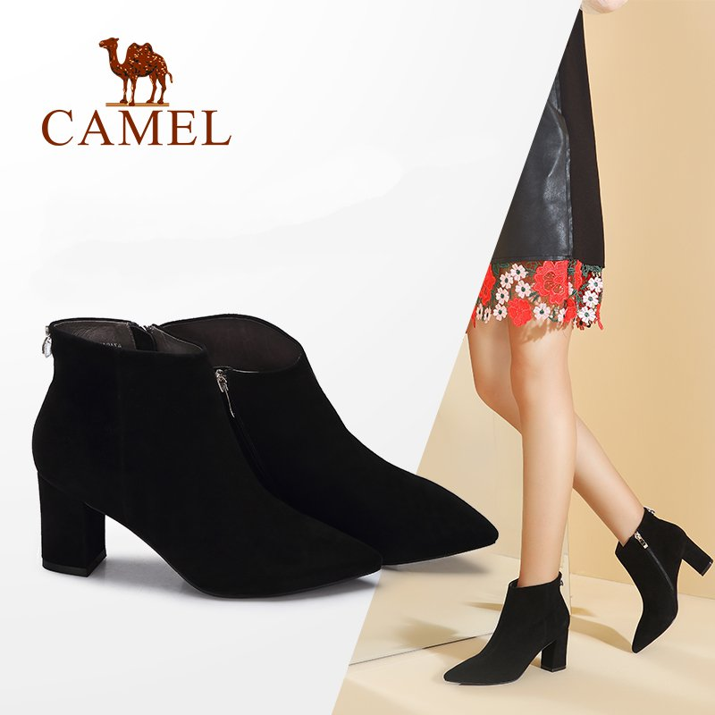 CAMEL Women Boots Shoes 2018 Winter Fashion Pointed Thick High Heel Ankle Black Short Boots Non-slip Comfortable Shoes camel camel boots cowhide thick heel rivet velvet fashion pointed toe boots vintage casual thermal boots