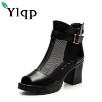 2017 Genuine Leather Party Shoes Sexy Fashion Silk Screen Platform Sandals Mature Wedding Shoes High Heel