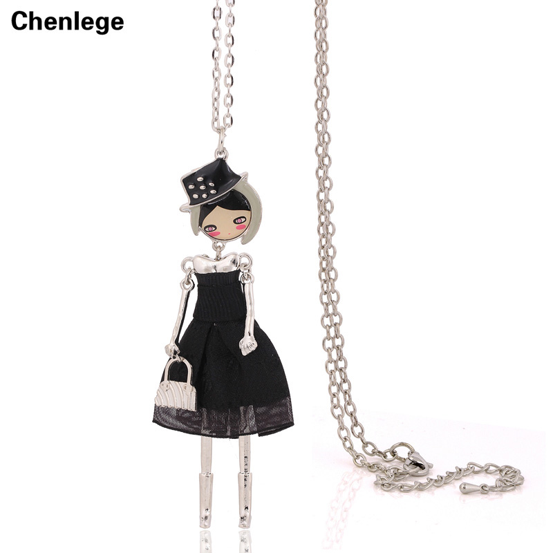 Muñeca de moda collares para mujer 1 pieza envío gratis antiguo color plata collares joyería maxi cadenas largas gargantilla grande