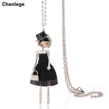 fashion doll necklaces for womens 1piece free shipping antique silver-color necklaces jewelry maxi long chains big choker