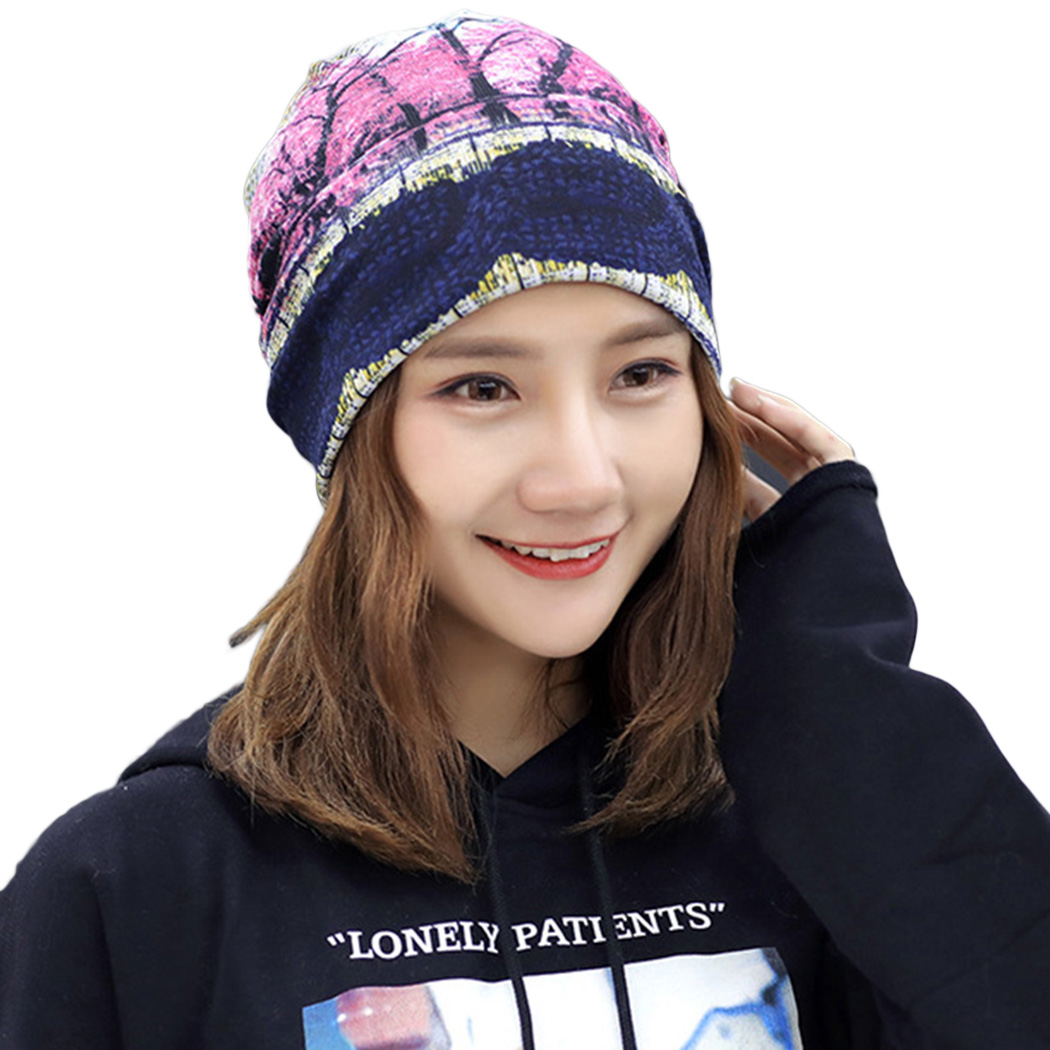 Two Used Women Hat Ponytail Beanie Korean Style Printed Hip Hop Caps Scarves Classic Autumn Winter Female Hats Scarf Skullies beanie