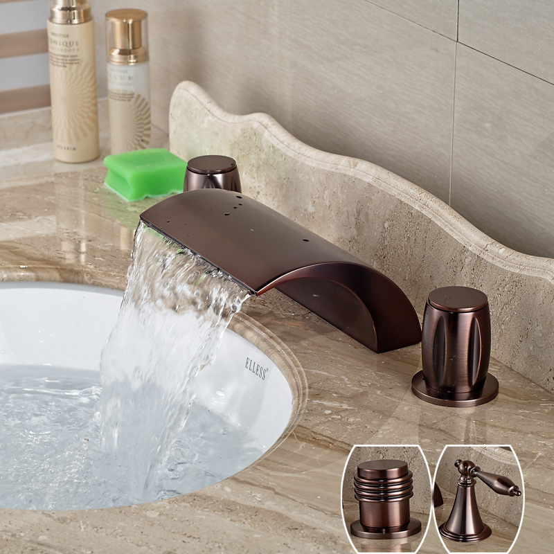 Oil Rubbed Bronze Widespread Waterfall Dual Handle Basin Faucet Deck Mounted Bathroom Lavatory Sink Taps oil rubbed bronze bathroom tooth brush holder dual ceramic cups crystal holder