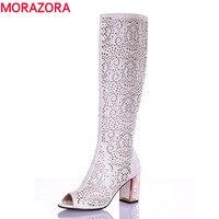 MORAZORA 2017 New High Quality Cut Outs Women S Summer Boots High Heels Knee High Women