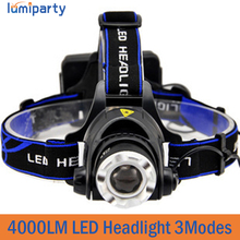4000LM Headlight CREE T6 LED Head Lamp Headlamp Linterna Torch LED Flashlights Biking Fishing Torch for 18650 Battery