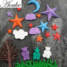 Aouke 1PCS Cloud, Stars, Moon Shape,3D Silicone Fondant Cake Mold. For Cup Cake Decorating, Jelly, Chocolate, Soap Modeling D176(China)
