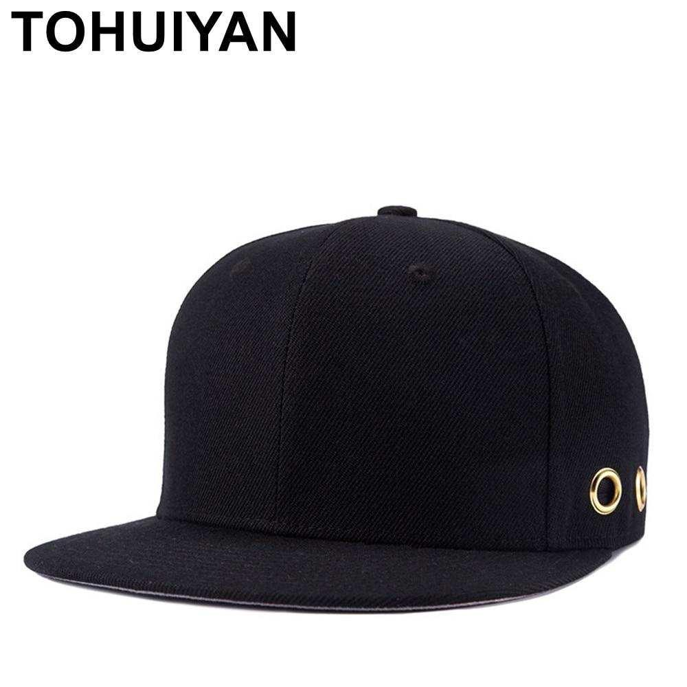 feda47e2e12 TOHUIYAN Men Women Pure Black Snapback Cap Blank Bone Hip Hop Hat Flat  Visor Baseball Caps Unisex Adjustable Bone Gorras Hats