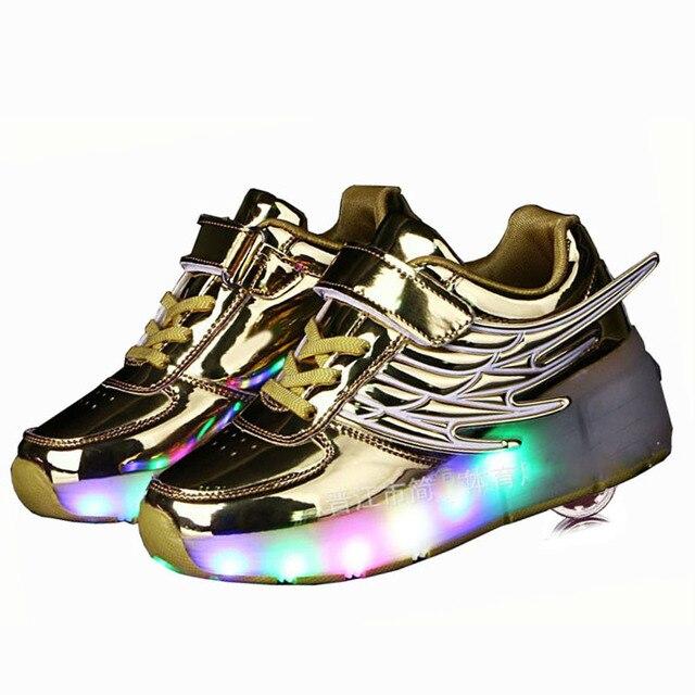 17b5110a87f54 Chaussures pour enfants avec Roues lumière led up baskets rougeoyantes  Enfants patins à roulettes Chaussures pour