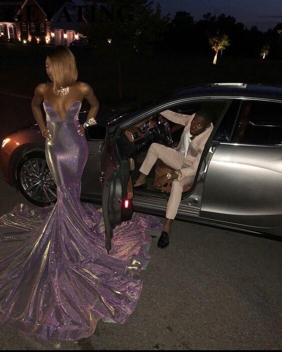Paillettes longues sirène noir fille robes de bal 2019 épaule dénudée Court Train violet africain soirée formelle robe Gala - 4