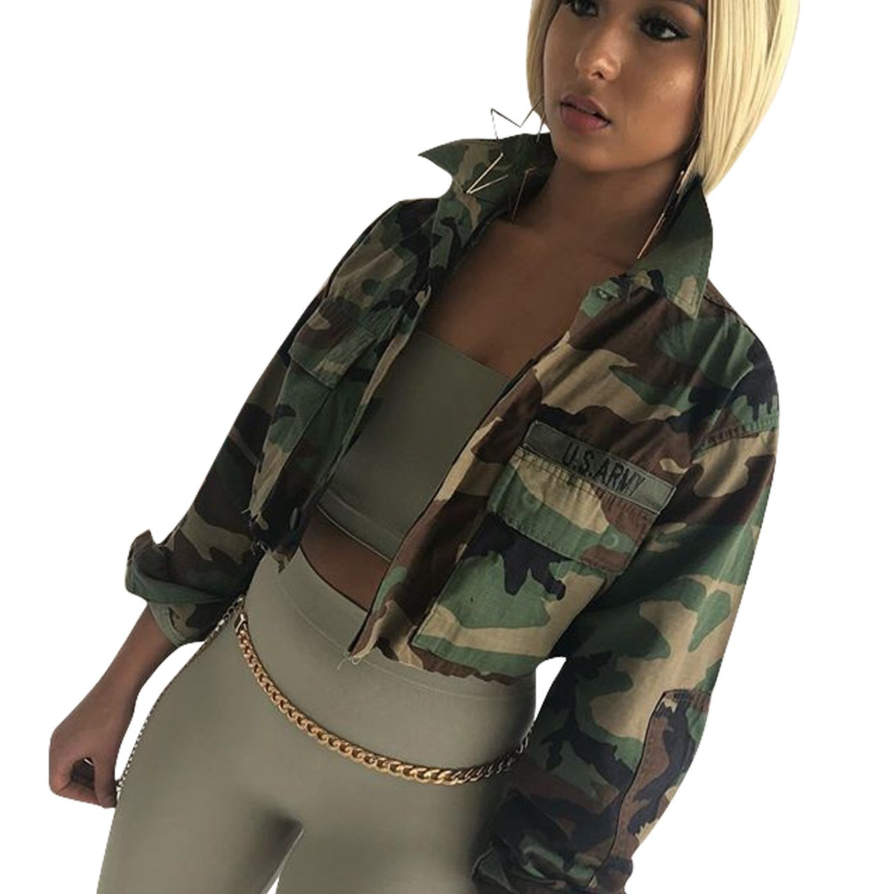 2018 Spring Female Loose Buttons Military Fatigues Stylish Short Jacket Green Camouflage Short Jacket