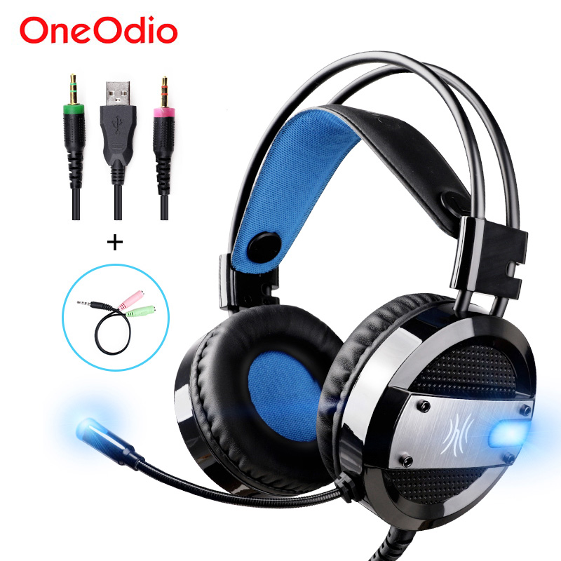 Oneodio LED Gaming Headset Hifi Wired USB Game Headphones With Microphone For Xbox PS4 Computer PC Stereo Gaming Headphone Gamer 3 5mm wired headphone game gaming headphones headset with microphone mic earphone for ps4 sony playstation 4 pc computer hot