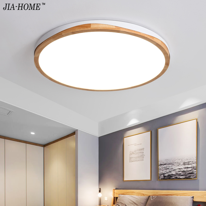 купить LED Ceiling Lights For Bedroom Dining Living Room Nordic Style Ceiling Mounted Lamp Wooden Kitchen Lighting Fixture ultra-thin 5 по цене 5097.77 рублей
