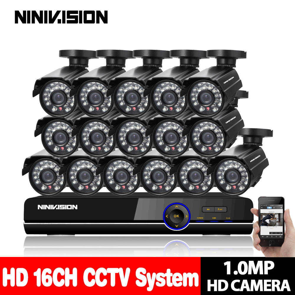 720P AHD Camera 16CH System Kit CCTV 16 Channel AHD DVR Recorder+IR Outdoor Bullet 1MP AHD Camera System Waterproof night vision home security system 16ch h 264 motion detect camera system dvr kit with 800tvl waterproof outdoor ir night vision cctv camera