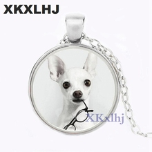 XKXLHJ Cute Chihuahua Art Picture Pendant Necklace Glass Dome Dog Fashion Steampunk Jewelry for Women Gift