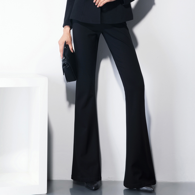 2018 Fashion Women Black Flare Leg Pants Classic Women's ...