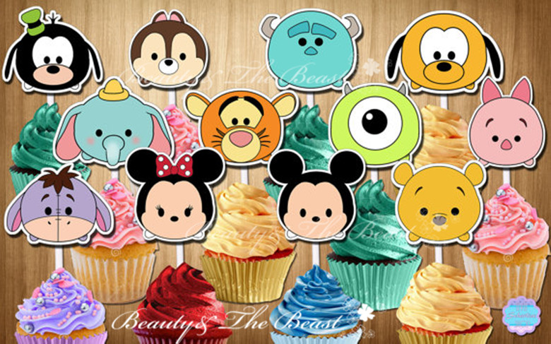 Hot Offer 4b58b Tsum Tsum Cupcake Toppers Birthday Party