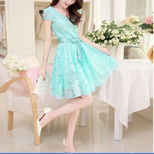 New  Summer Fashion Cozy women clothes Noble elegant short sleeve lace chiffon dress Korean casual sweet solid-Sky blue,S