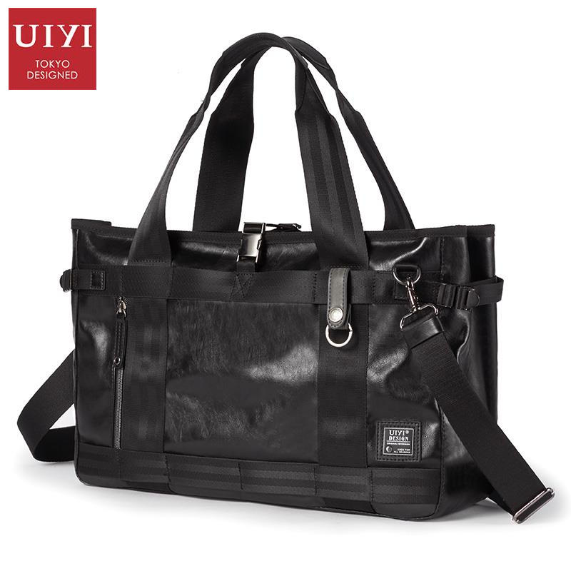 UIYI Women Men Handbag Soft Polyester Leather Travel Duffle Messenger Bag Zipper Solid Shoulder Crossbody Bags Versatile 160178 black simple style pu leather sports gym bag for men fitness shoulder handbags crossbody bags travel training duffle handbag