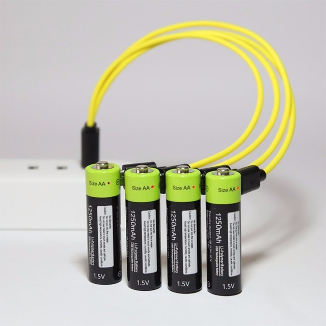 ZNTER 4PCS AA 1.5V 1250mAh USB Rechargeable Lithium Polymer Battery Quick Charging by Micro USB Cable