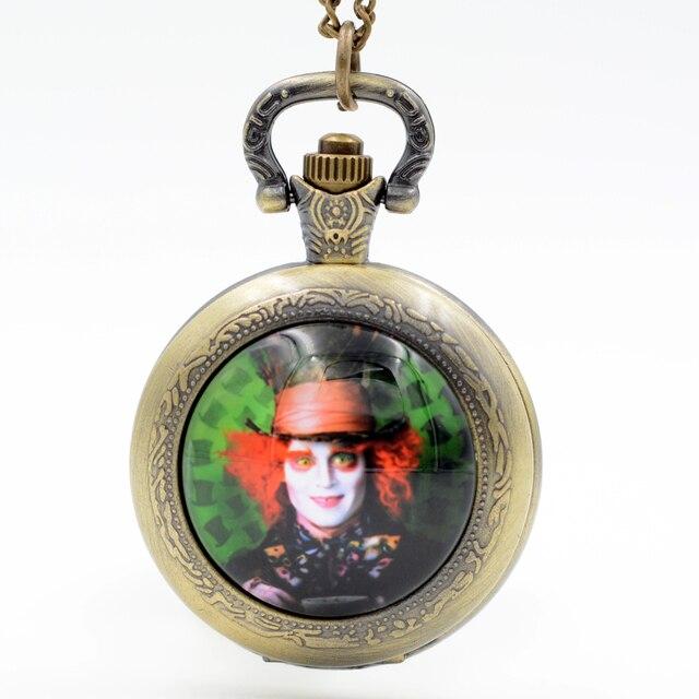 Alice in Wonderland The Mad Hatter Quartz Pocket Watch Pendant Necklace Men Watc
